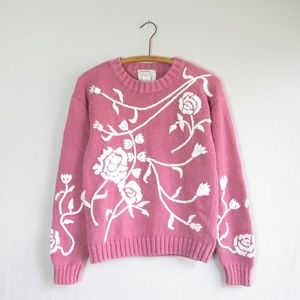 Vintage pink rose floral embroidered 90s sweater